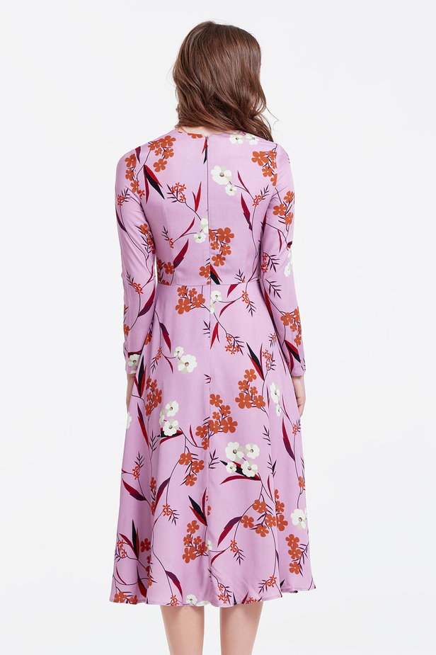 Midi lilac dress with a floral print photo 4 - MustHave online store