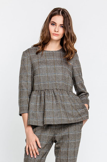 Tweed top with a basque