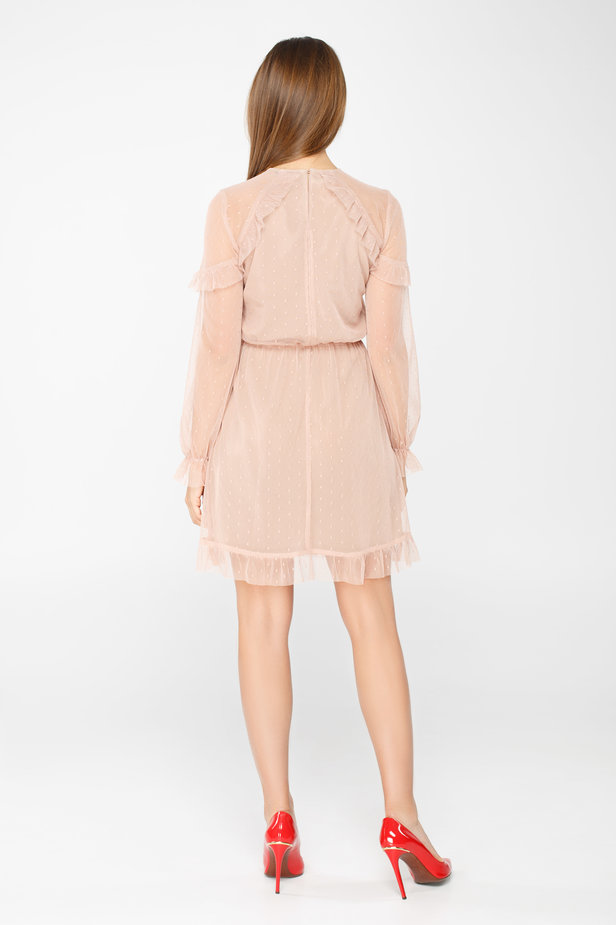 Pale pink tulle dress above the knee with ruffles photo 5 - MustHave online store