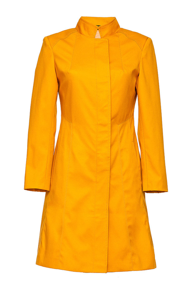 Mustard trenchcoat with a stand up collar photo 2 - MustHave online store