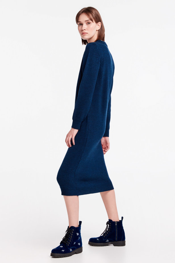 Dark-blue knit dress photo 3 - MustHave online store