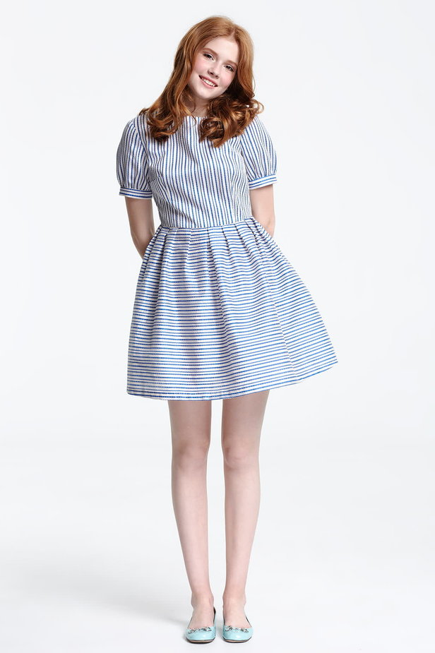 Mini dress with white and blue stripes photo 2 - MustHave online store