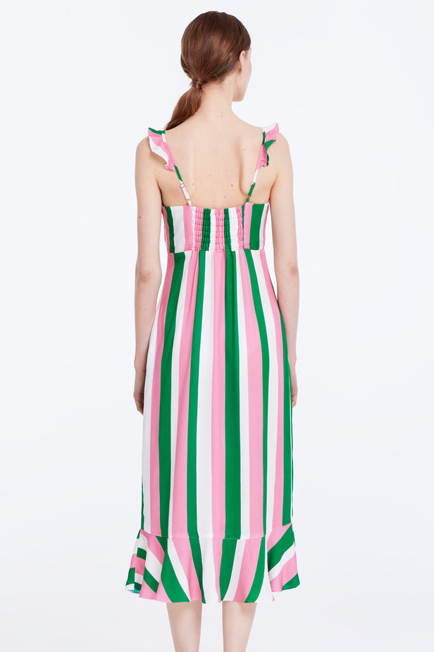 Sundress with white, green and pink stripes and a flounce photo 6 - MustHave online store