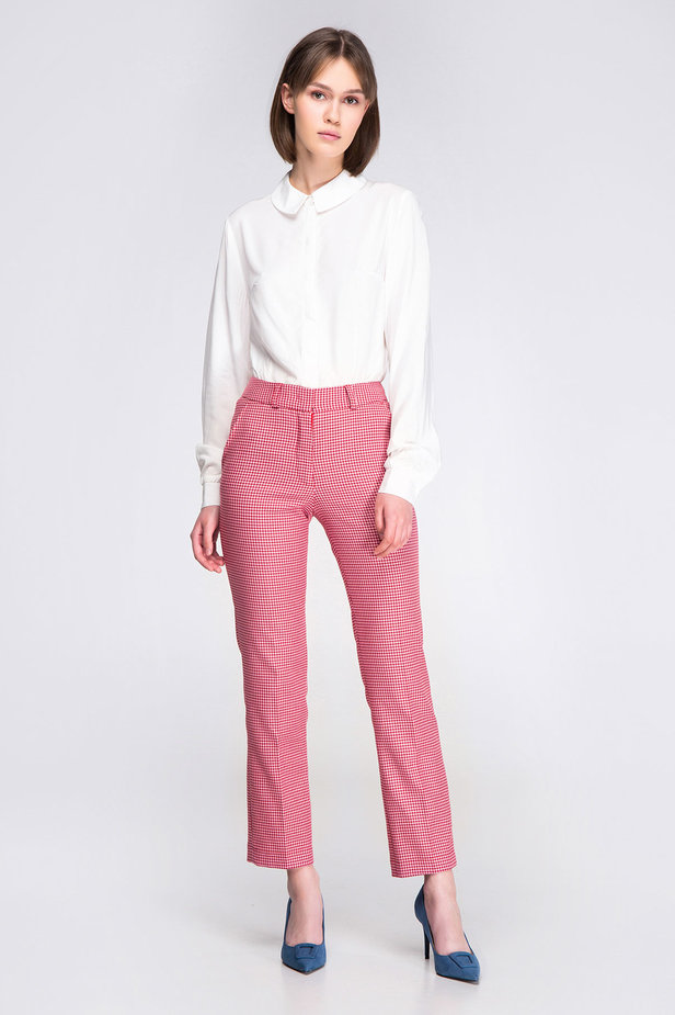 Pink-red houndstooth pants photo 2 - MustHave online store