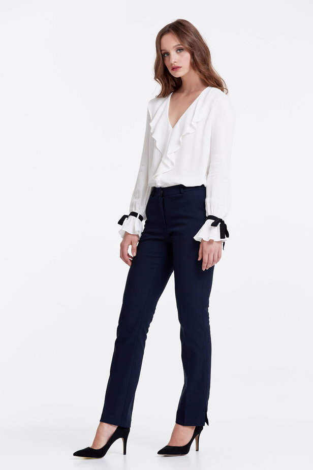 Dark blue trousers with slits photo 3 - MustHave online store