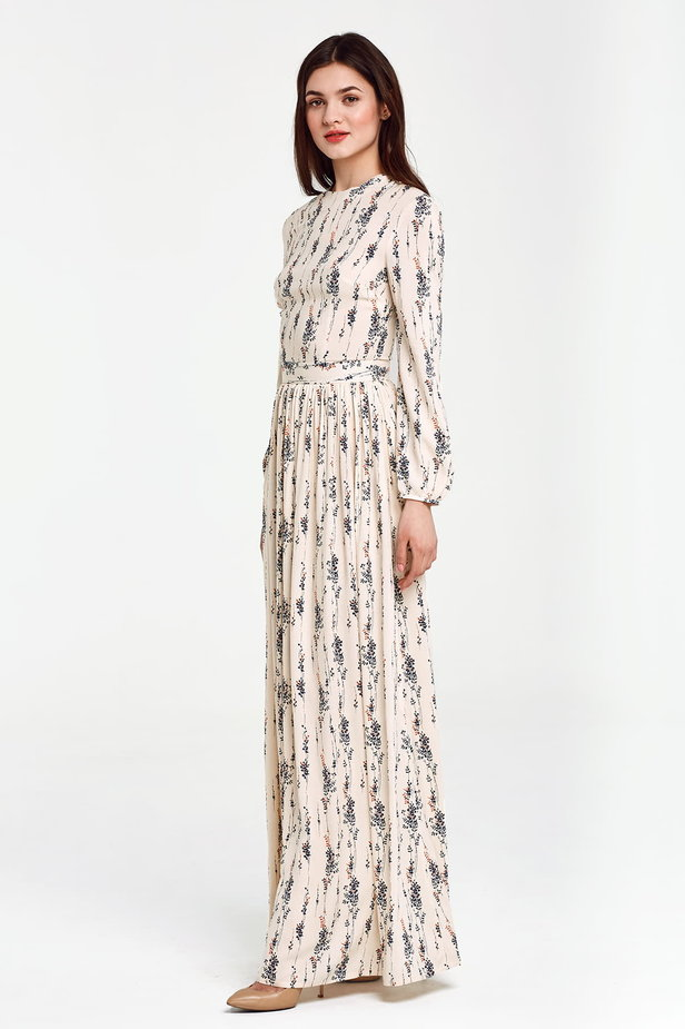 Maxi beige dress, floral print photo 2 - MustHave online store