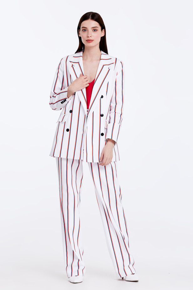 Double-breasted white jacket with blue and red stripes photo 2 - MustHave online store