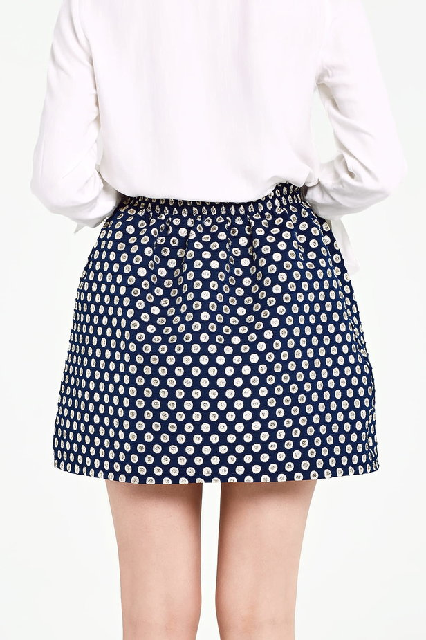 Dark blue skirt with an elastic waistband, polka dot print photo 4 - MustHave online store