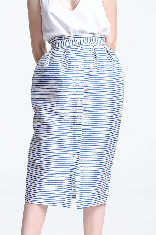 Midi skirt with white and blue stripes and buttons