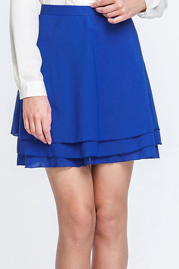 Mini blue chiffon skirt photo 1 - MustHave online store