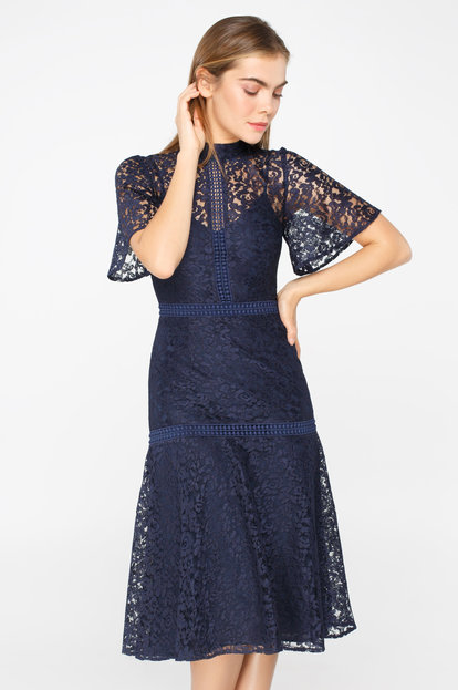 Blue lace mini dress with flared sleeves