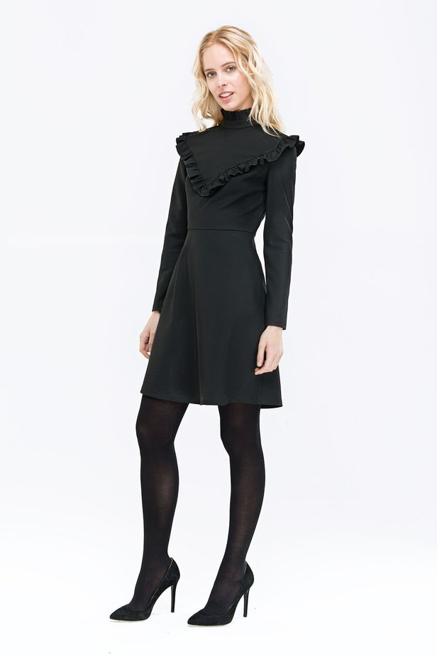 Black A-line dress with ruffles above the knee photo 4 - MustHave online store