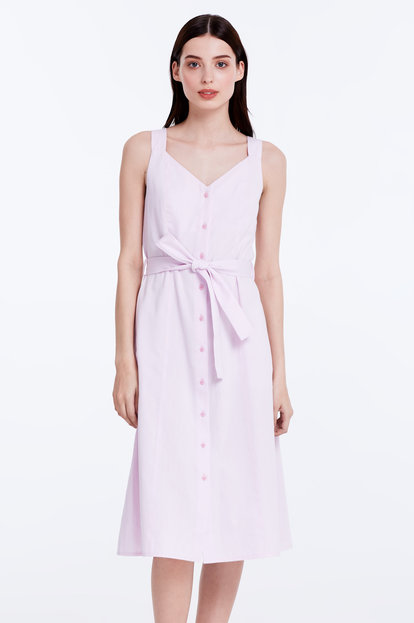 Light-pink sundress with a belt