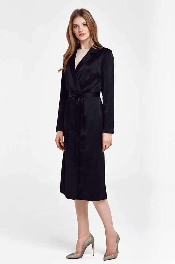 Below the knee wrap black trenchcoat with a belt photo 4 - MustHave online store