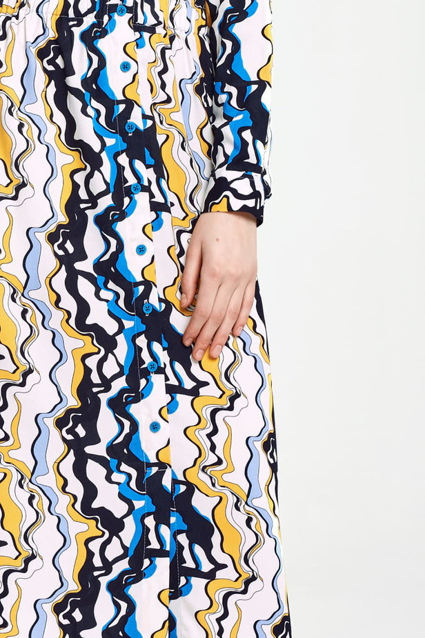 Midi dress with an elastic waistband and pockets, yellow and blue print photo 3 - MustHave online store
