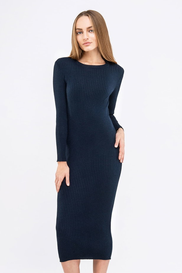 Blue knit sheath midi dress photo 1 - MustHave online store