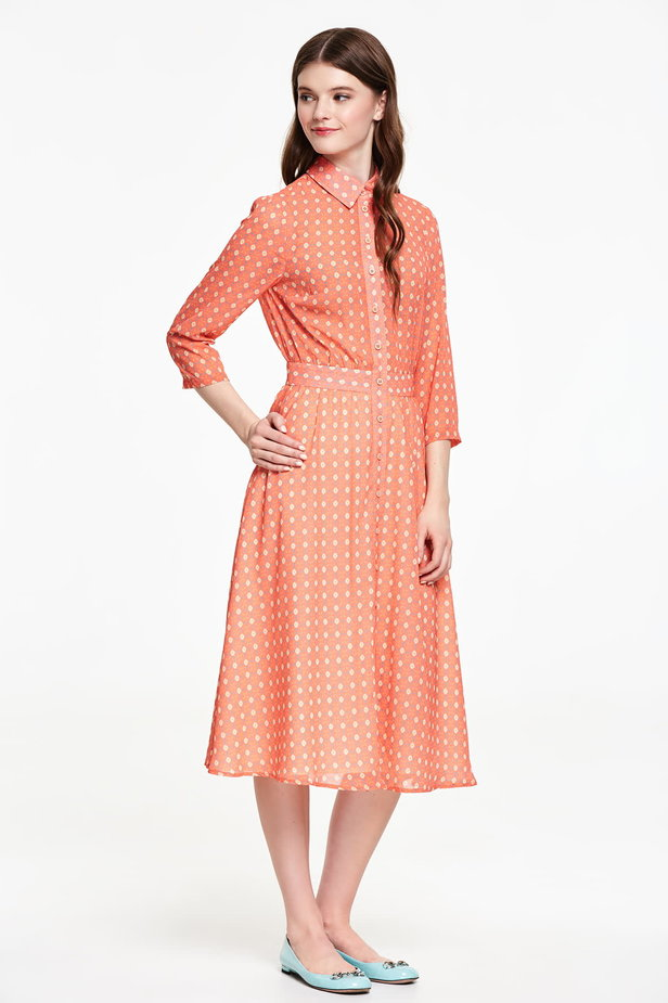 Orange shirt dress with rhombs photo 5 - MustHave online store