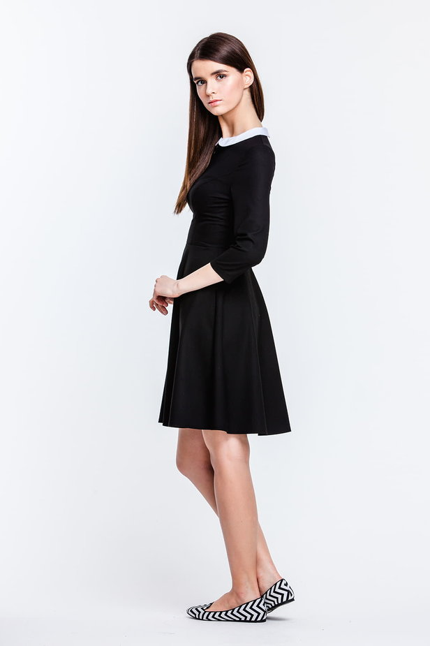 Above the knee black dress with a white collar photo 3 - MustHave online store