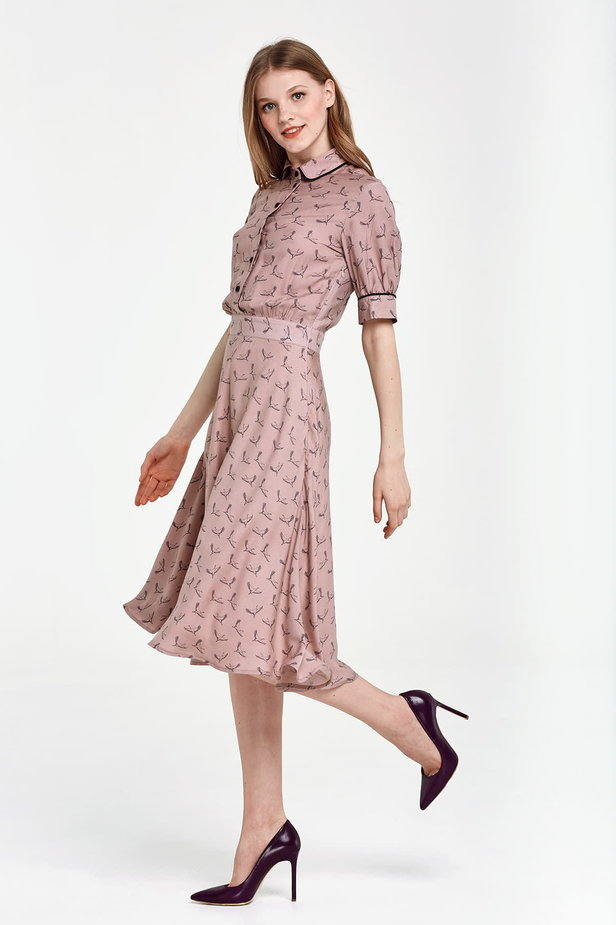 Midi beige shirt dress, сranes print photo 3 - MustHave online store