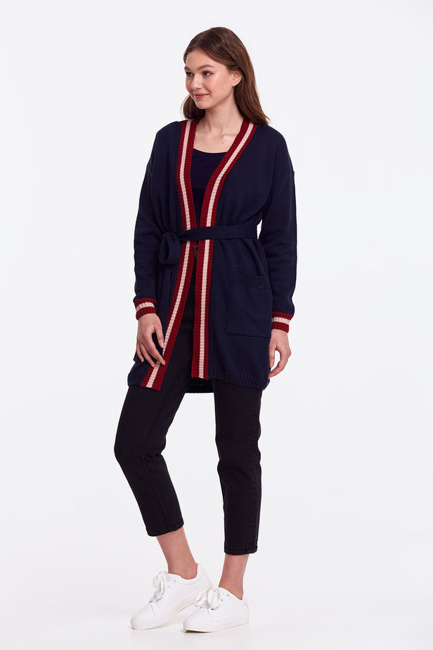 Dark blue cardigan with stripes photo 6 - MustHave online store