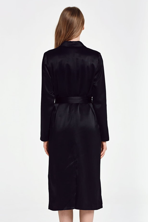 Below the knee wrap black trenchcoat with a belt photo 5 - MustHave online store