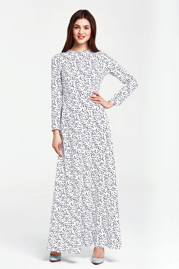 Maxi white dress, blue geometric print photo 1 - MustHave online store
