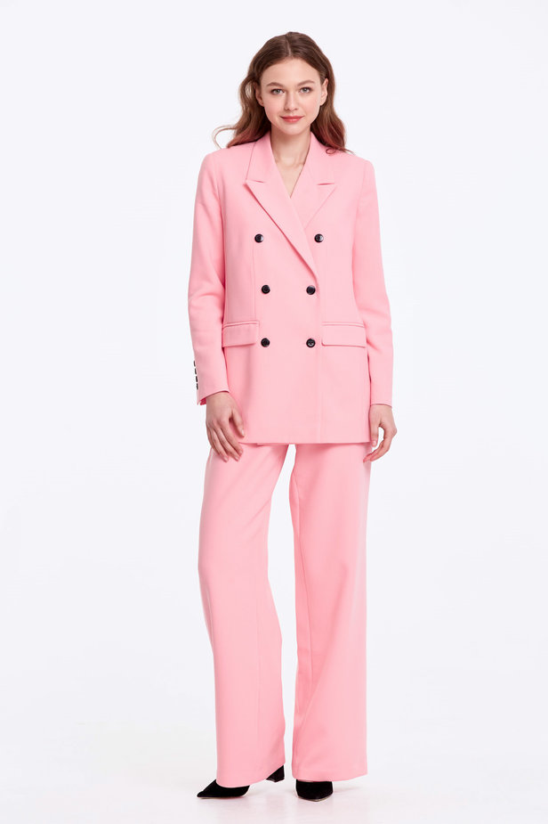 Double-breasted pink jacket with pockets photo 2 - MustHave online store