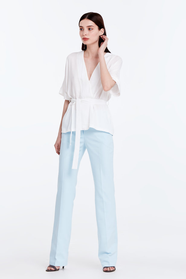 Wrap white shirt with a belt photo 3 - MustHave online store