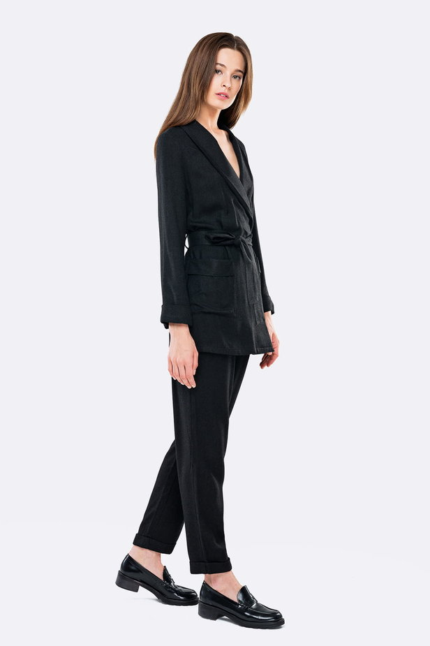 Swing black jacket with a belt photo 4 - MustHave online store
