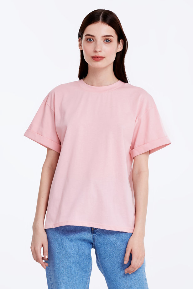 Loose-fitting pink T-shirt with cuffs photo 1 - MustHave online store