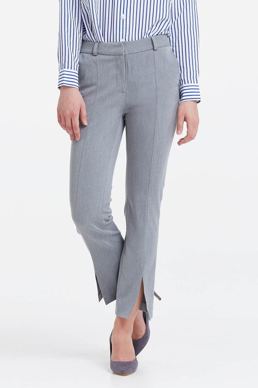 Grey trousers with slits