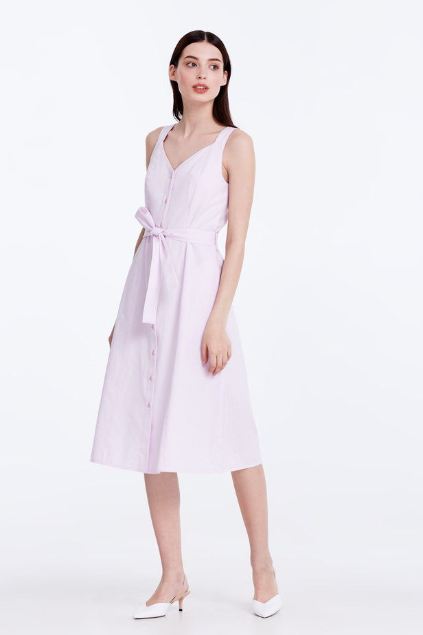 Light-pink sundress with a belt photo 4 - MustHave online store