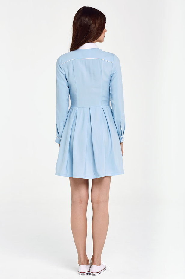 Blue dress with a white collar and piping photo 3 - MustHave online store