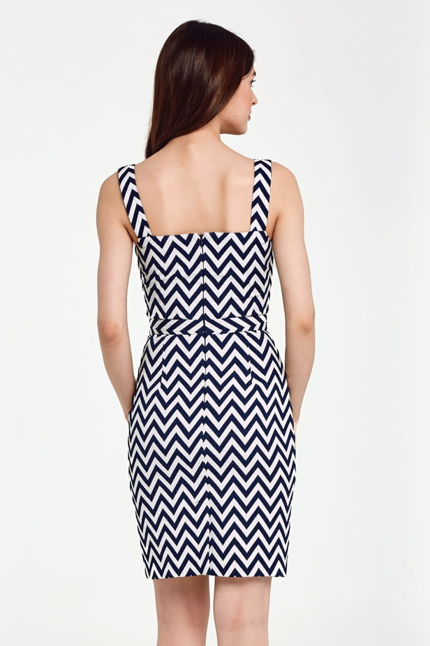 V-neck sundress with white and blue zigzag photo 4 - MustHave online store