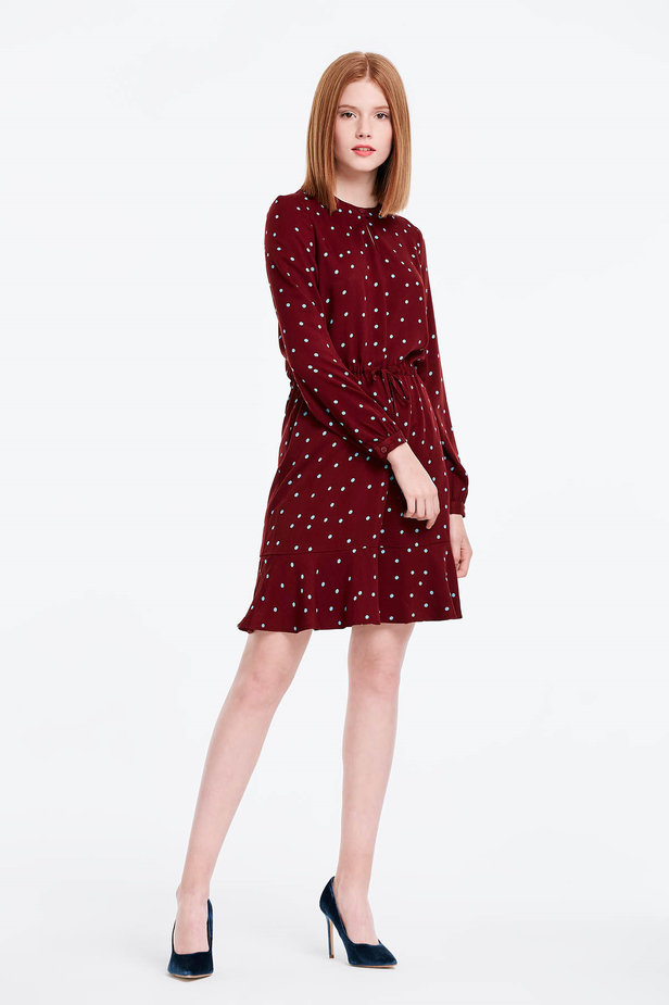 Wine dress with a blue polka dot print and a keyhole photo 4 - MustHave online store