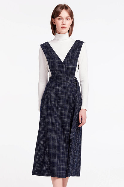Dark-blue wrap checkered sundress