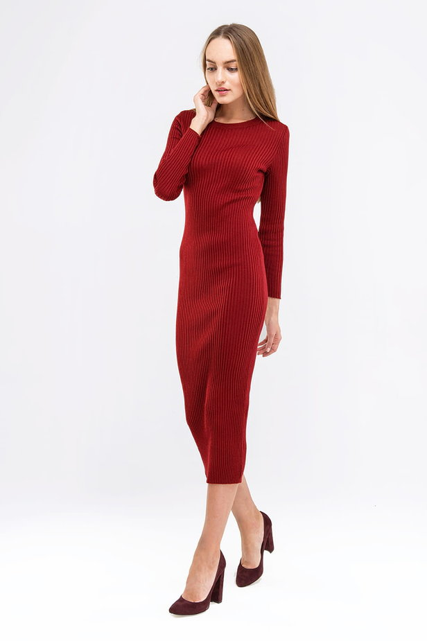 Wine knit sheath midi dress photo 3 - MustHave online store