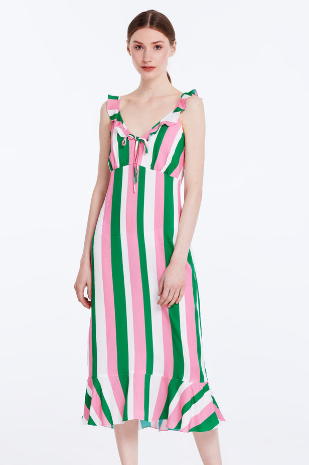 Sundress with white, green and pink stripes and a flounce photo 1 - MustHave online store