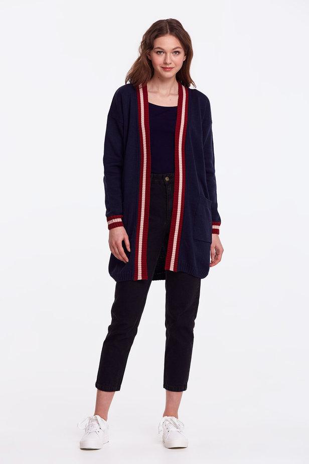 Dark blue cardigan with stripes photo 2 - MustHave online store