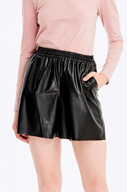 Black leather shorts with a waistband